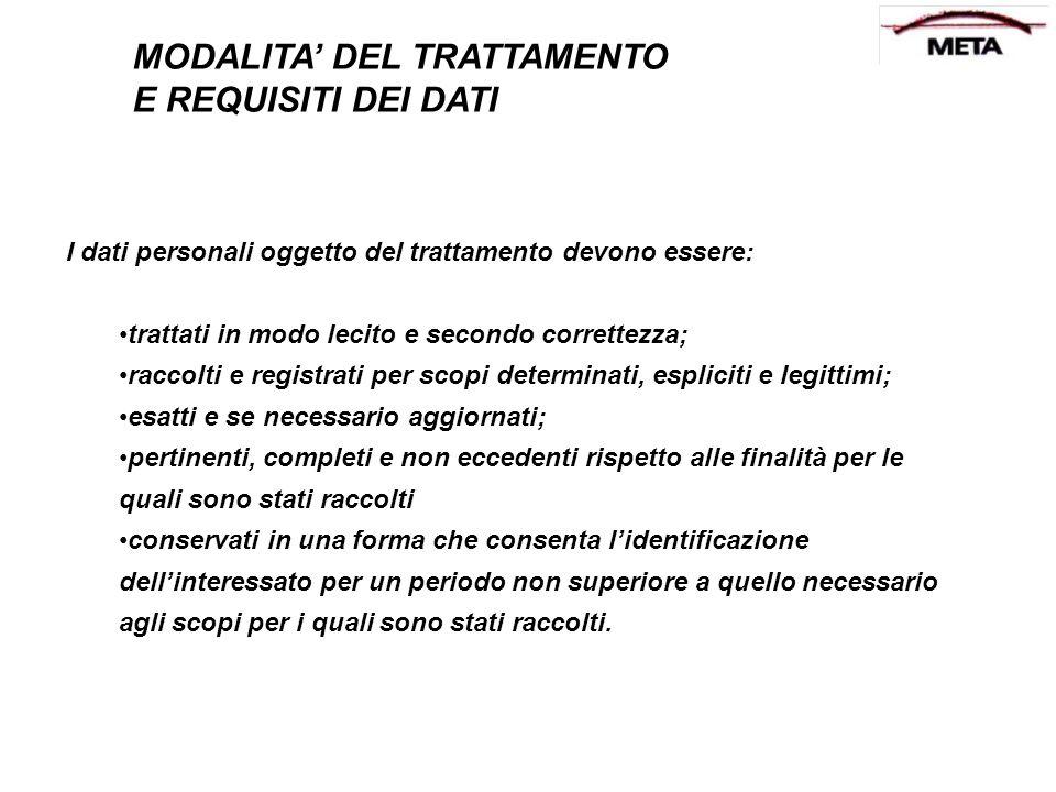 I dati personali oggetto del trattamento devono essere: trattati in modo lecito e secondo correttezza; raccolti e registrati per scopi determinati, es