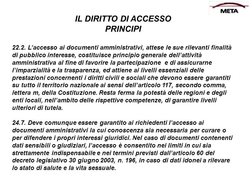 IL DIRITTO DI ACCESSO PRINCIPI 22.2. Laccesso ai documenti amministrativi, attese le sue rilevanti finalità di pubblico interesse, costituisce princip