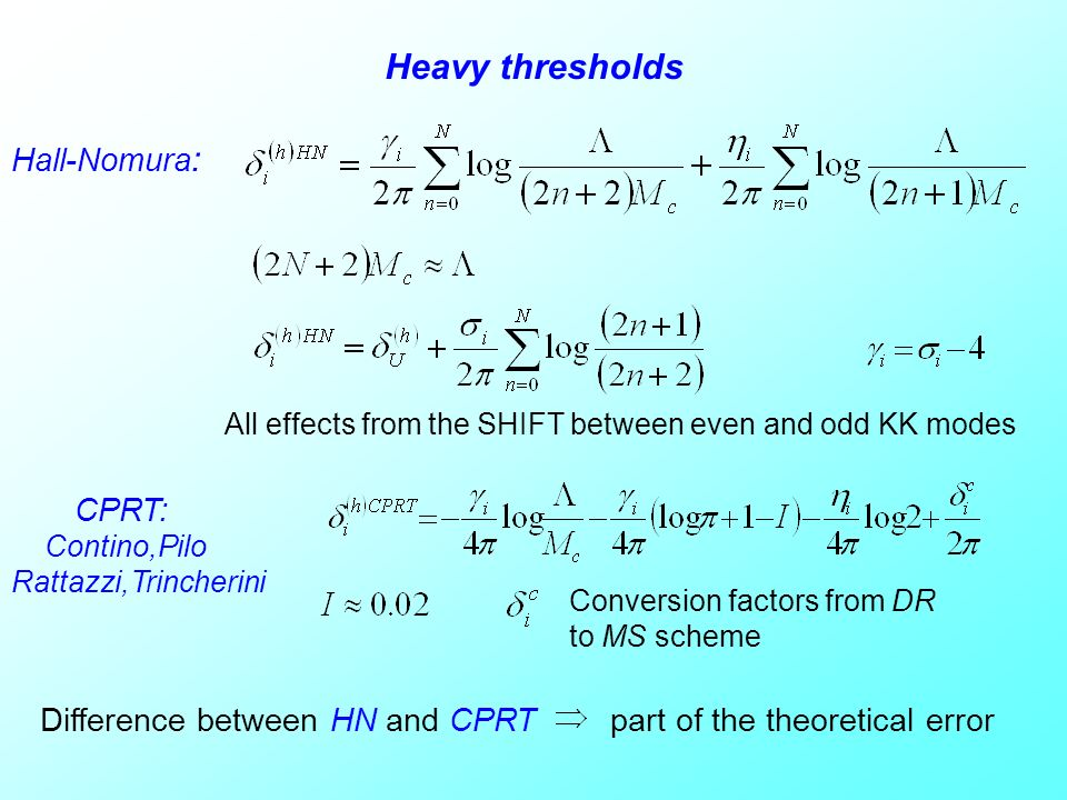 Heavy thresholds Hall-Nomura : All effects from the SHIFT between even and odd KK modes CPRT: Contino,Pilo Rattazzi,Trincherini Conversion factors fro
