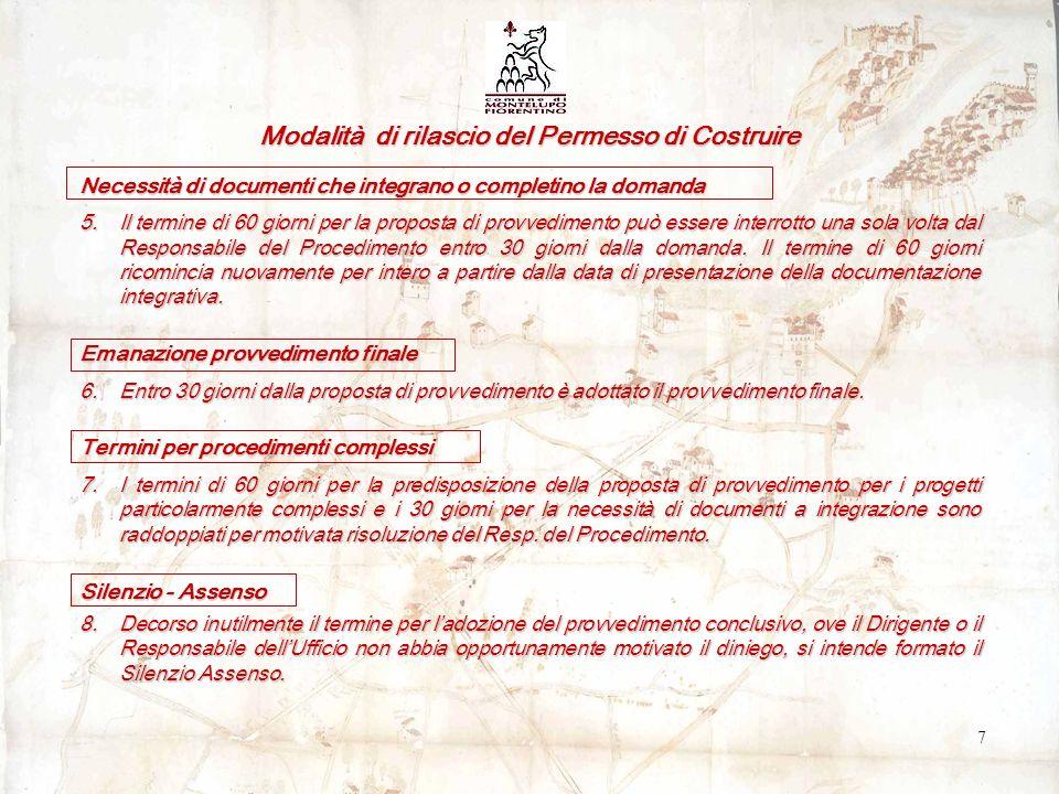 Modalità di rilascio del Permesso di Costruire Necessità di documenti che integrano o completino la domanda 5.