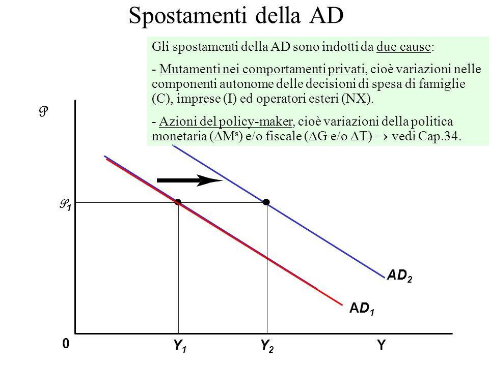 Spostamenti della AD Y P 0 AD1AD1 P1P1 Y1Y1 Y2Y2 AD 2 Gli spostamenti della AD sono indotti da due cause: - Mutamenti nei comportamenti privati, cioè