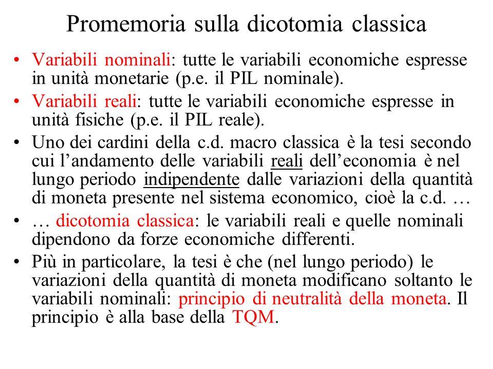 Promemoria sulla dicotomia classica Variabili nominali: tutte le variabili economiche espresse in unità monetarie (p.e. il PIL nominale). Variabili re
