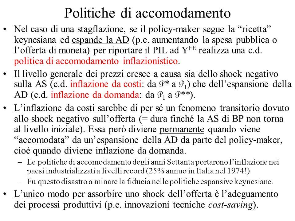 Politiche di accomodamento Nel caso di una stagflazione, se il policy-maker segue la ricetta keynesiana ed espande la AD (p.e. aumentando la spesa pub