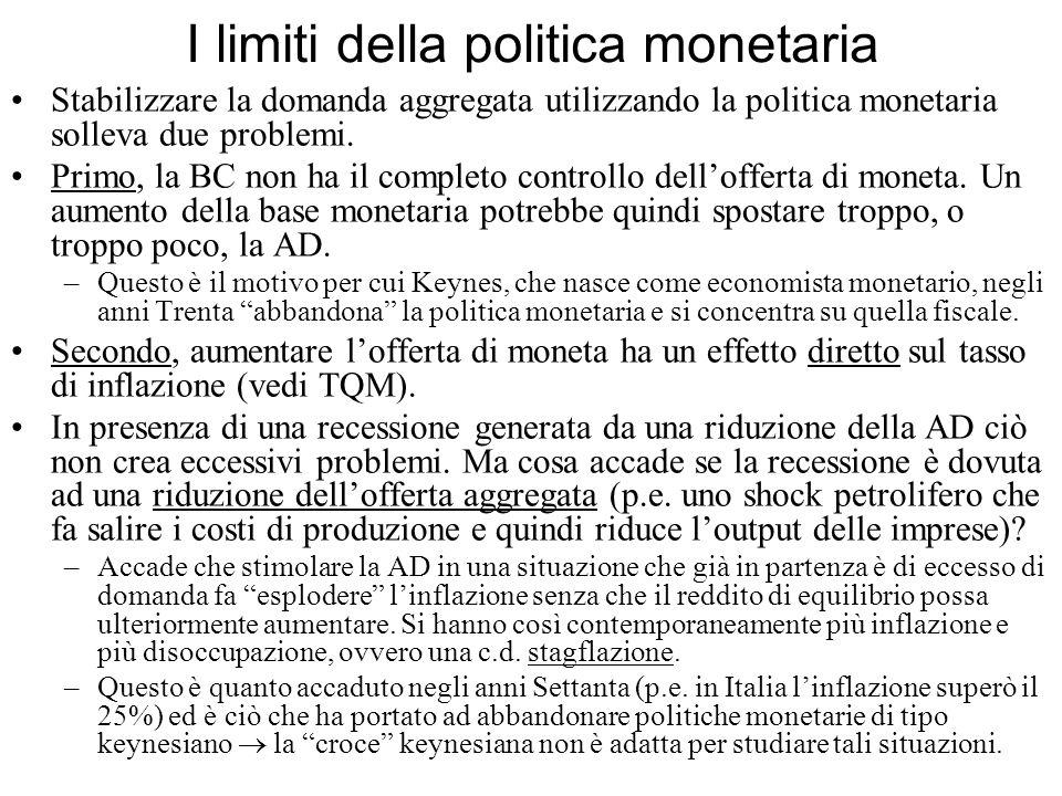 I limiti della politica monetaria Stabilizzare la domanda aggregata utilizzando la politica monetaria solleva due problemi. Primo, la BC non ha il com