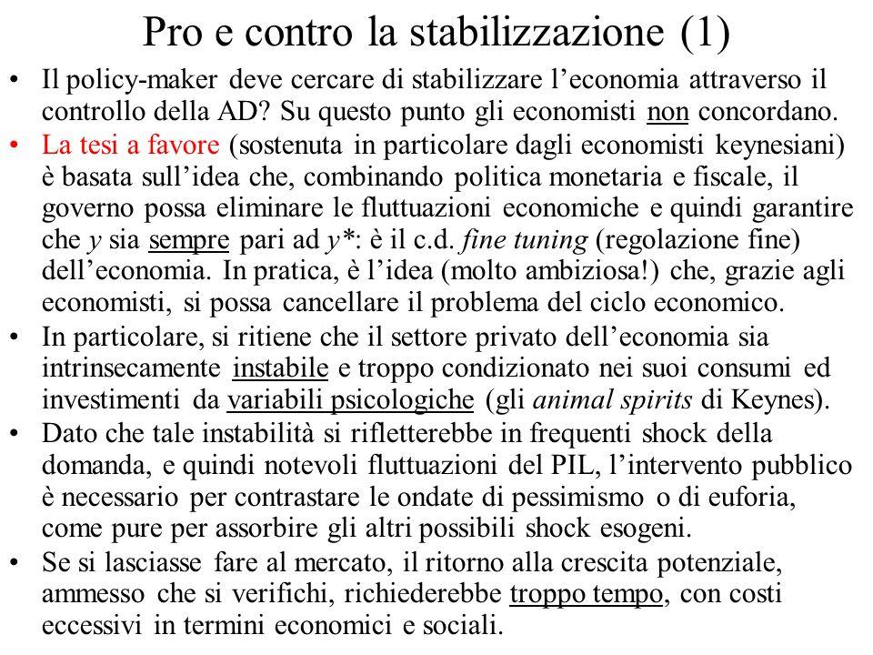Pro e contro la stabilizzazione (1) Il policy-maker deve cercare di stabilizzare leconomia attraverso il controllo della AD? Su questo punto gli econo