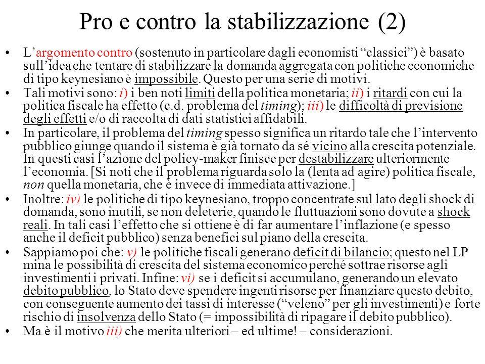 Pro e contro la stabilizzazione (2) Largomento contro (sostenuto in particolare dagli economisti classici) è basato sullidea che tentare di stabilizza
