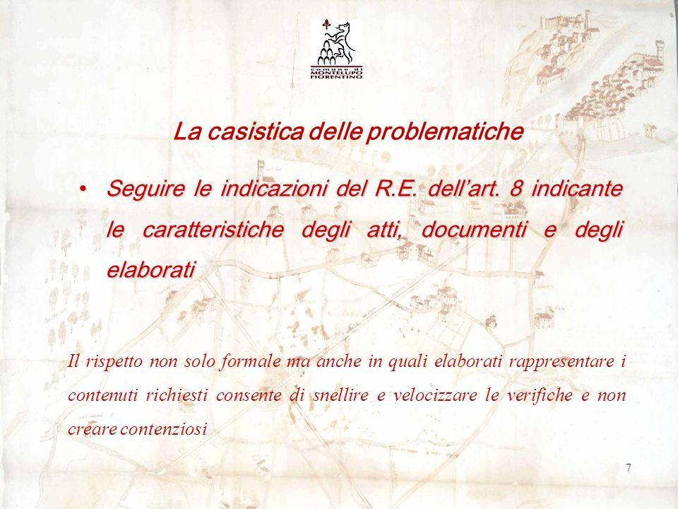 Seguire le indicazioni del R.E. dellart.