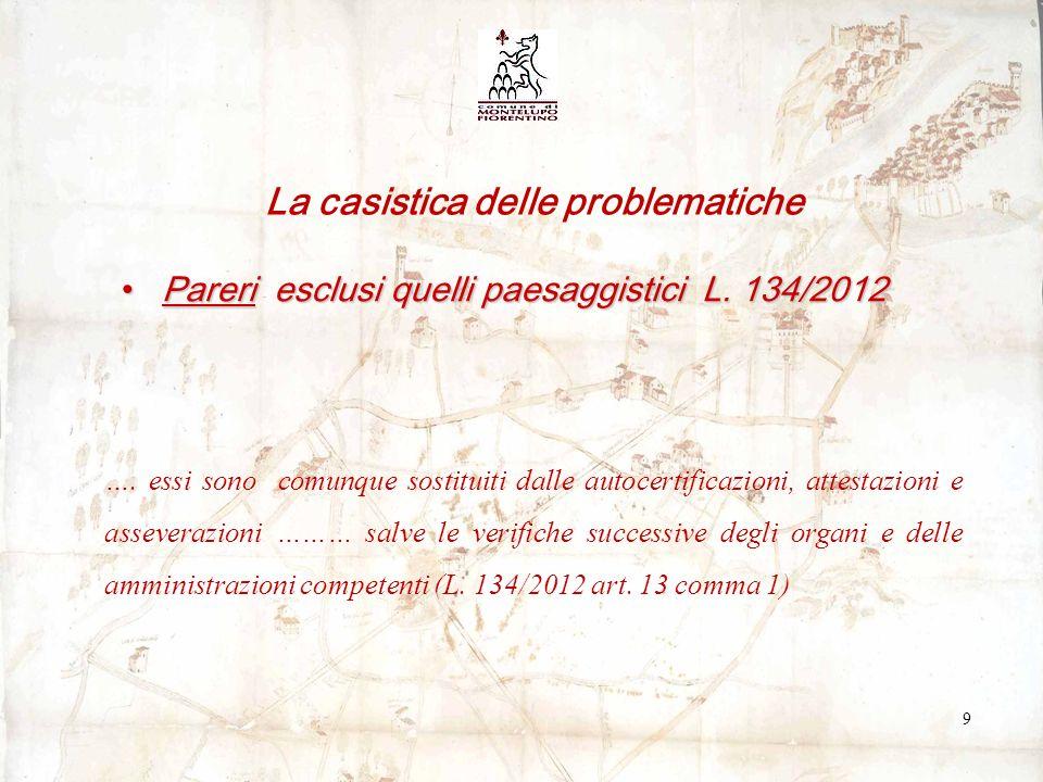 Pareri esclusi quelli paesaggistici L. 134/2012Pareri esclusi quelli paesaggistici L.
