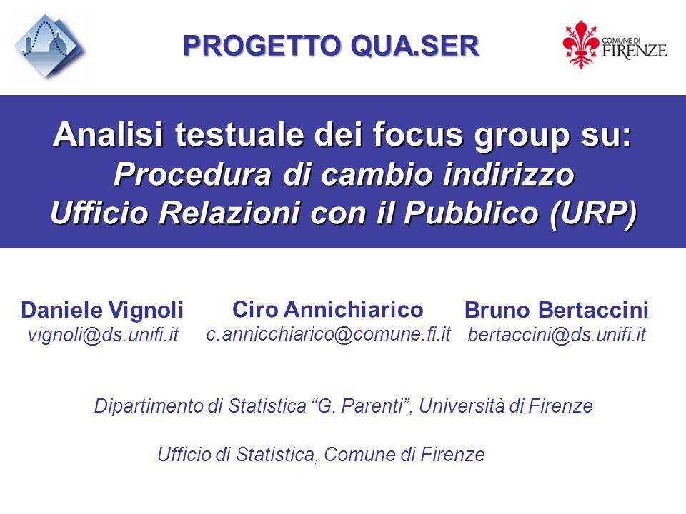 Analisi testuale dei focus group su: Procedura di cambio indirizzo Ufficio Relazioni con il Pubblico (URP) Daniele Vignoli vignoli@ds.unifi.it Bruno B