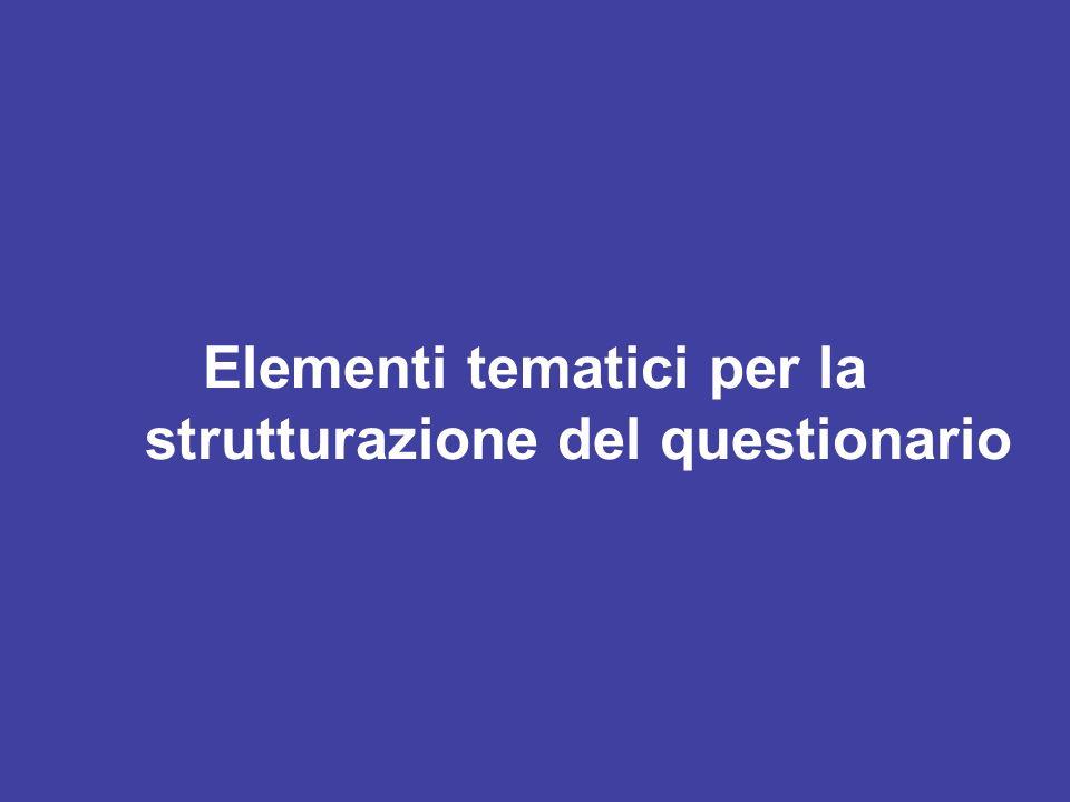 Elementi tematici per la strutturazione del questionario