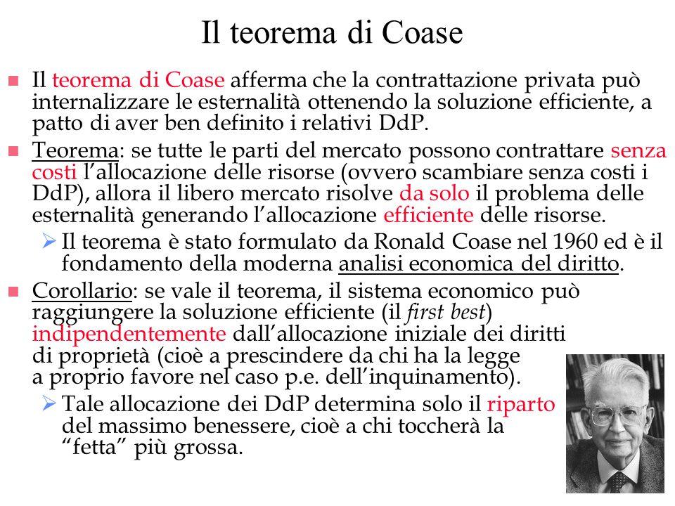 Il teorema di Coase n Il teorema di Coase afferma che la contrattazione privata può internalizzare le esternalità ottenendo la soluzione efficiente, a