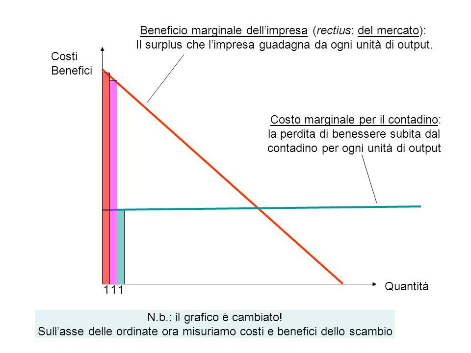 Beneficio marginale dellimpresa (rectius: del mercato): Il surplus che limpresa guadagna da ogni unità di output. Costo marginale per il contadino: la