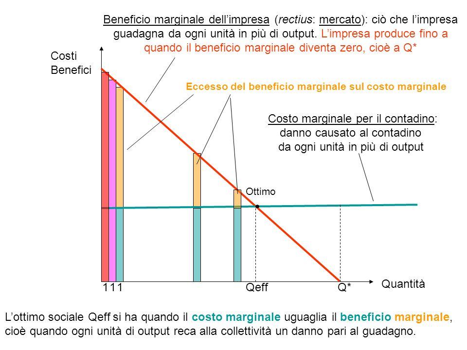 Q*Qeff Beneficio marginale dellimpresa (rectius: mercato): ciò che limpresa guadagna da ogni unità in più di output. Limpresa produce fino a quando il