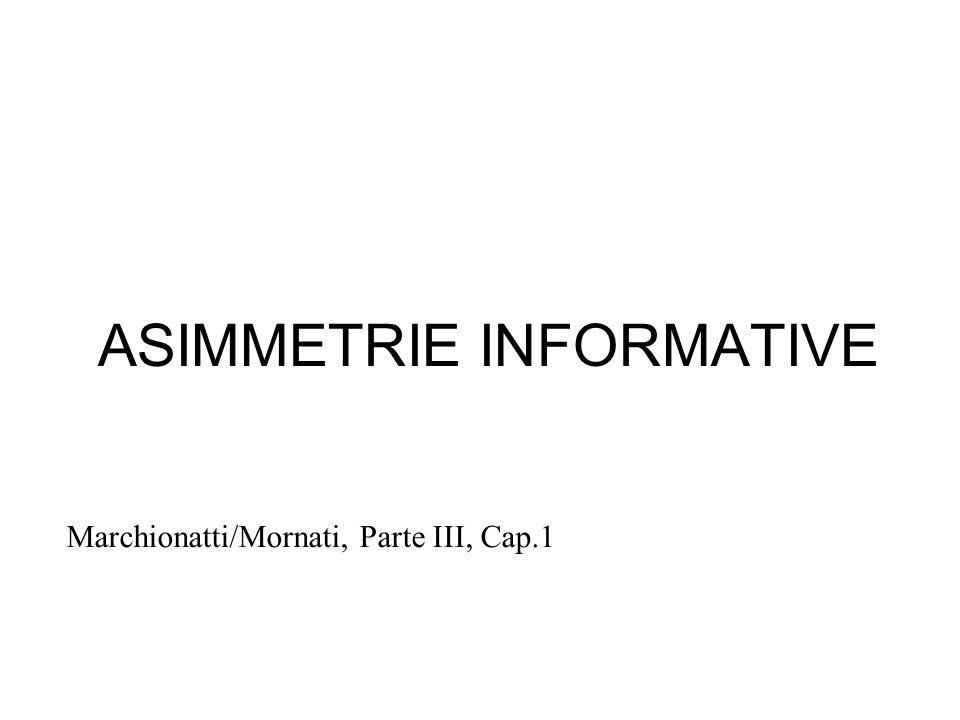 ASIMMETRIE INFORMATIVE Marchionatti/Mornati, Parte III, Cap.1