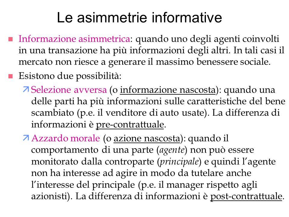 Le asimmetrie informative n Informazione asimmetrica: quando uno degli agenti coinvolti in una transazione ha più informazioni degli altri. In tali ca