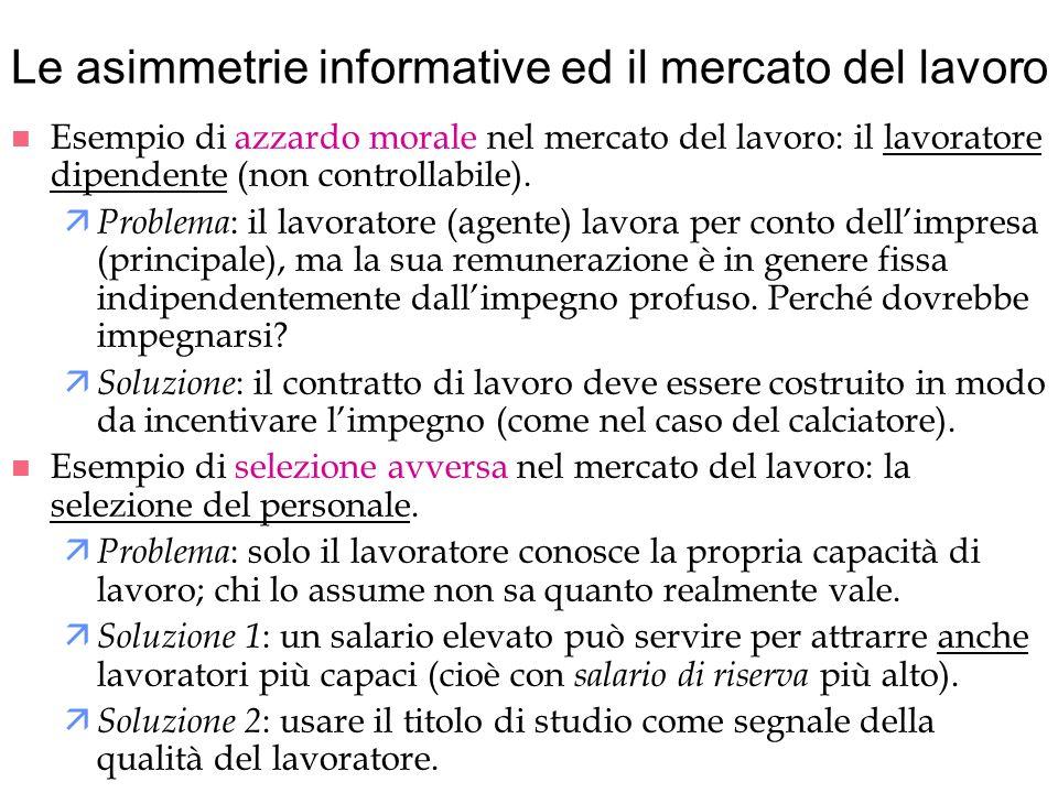 Le asimmetrie informative ed il mercato del lavoro n Esempio di azzardo morale nel mercato del lavoro: il lavoratore dipendente (non controllabile). ä