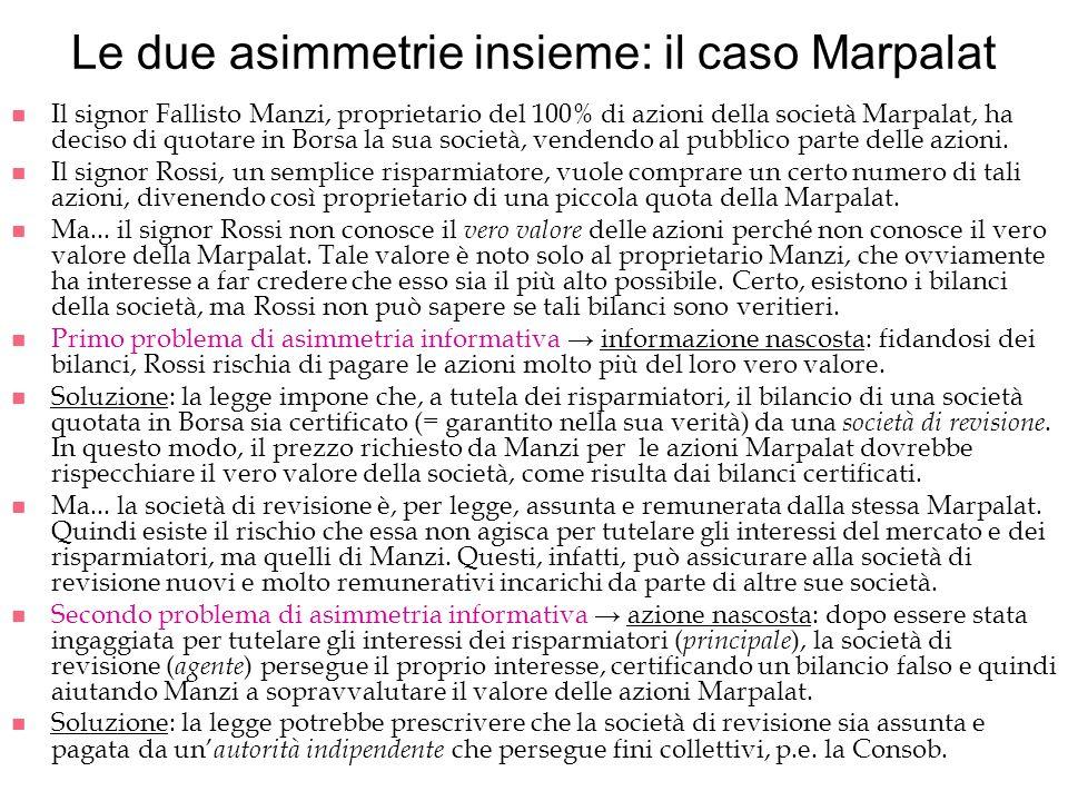 Le due asimmetrie insieme: il caso Marpalat n Il signor Fallisto Manzi, proprietario del 100% di azioni della società Marpalat, ha deciso di quotare i