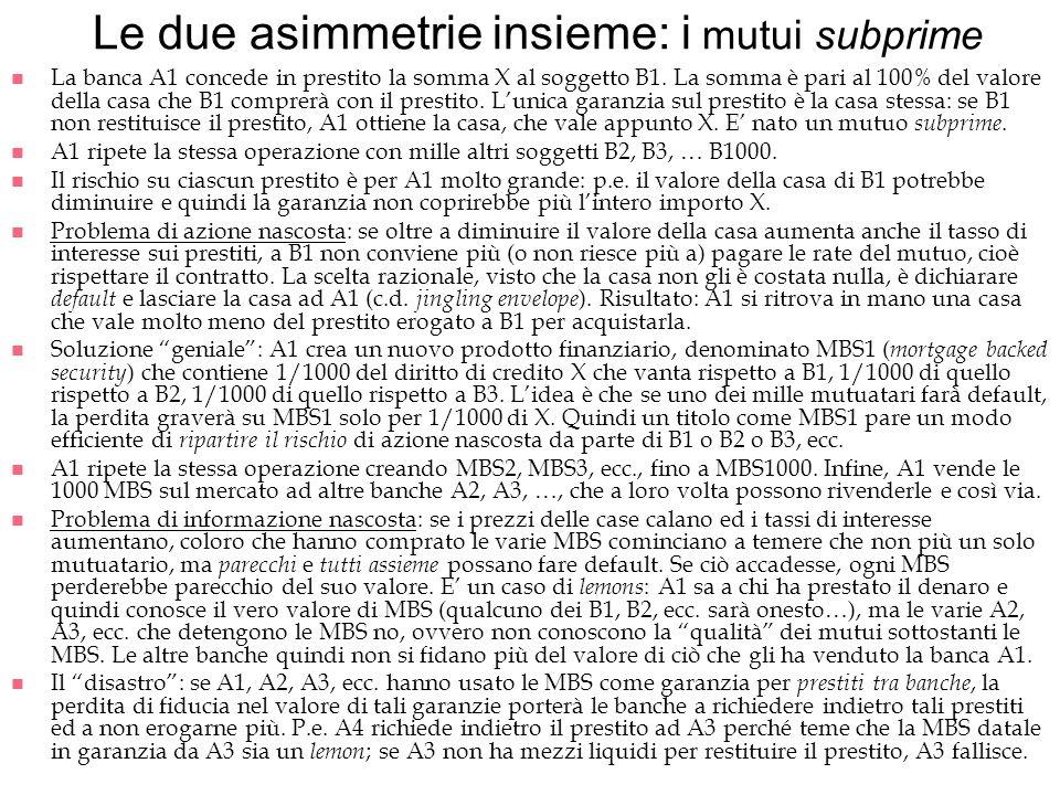 Le due asimmetrie insieme: i mutui subprime n La banca A1 concede in prestito la somma X al soggetto B1. La somma è pari al 100% del valore della casa