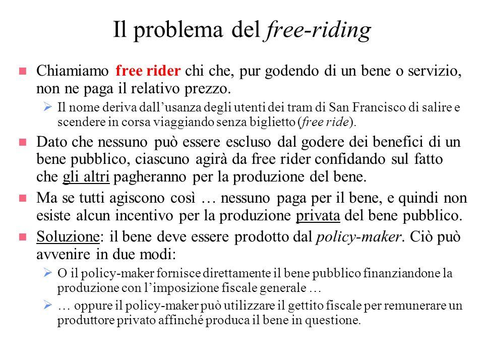 Il problema del free-riding n Chiamiamo free rider chi che, pur godendo di un bene o servizio, non ne paga il relativo prezzo. Il nome deriva dallusan