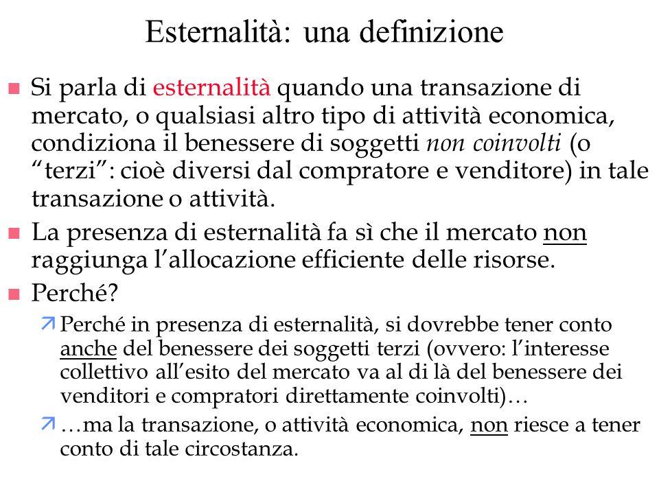 Esternalità: una definizione n Si parla di esternalità quando una transazione di mercato, o qualsiasi altro tipo di attività economica, condiziona il
