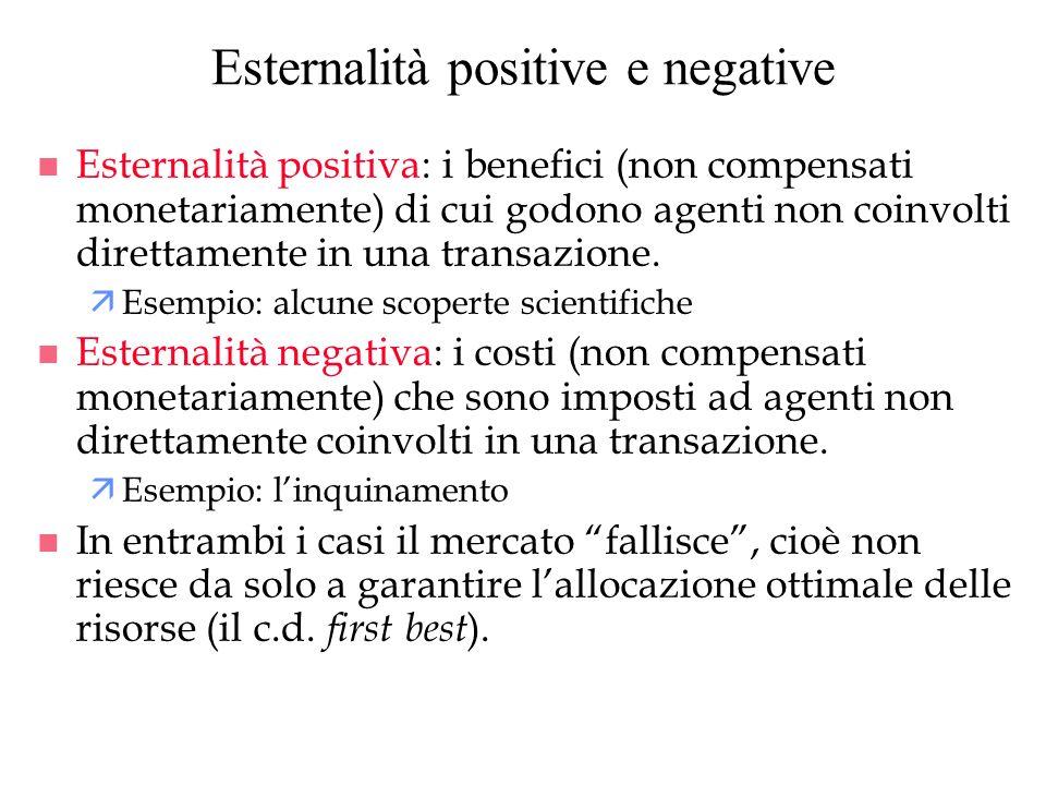 Esternalità positive e negative n Esternalità positiva: i benefici (non compensati monetariamente) di cui godono agenti non coinvolti direttamente in