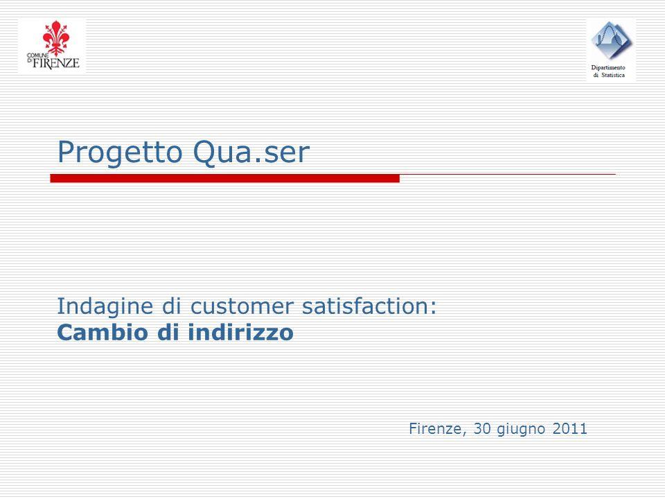Progetto Qua.ser Indagine di customer satisfaction: Cambio di indirizzo Firenze, 30 giugno 2011
