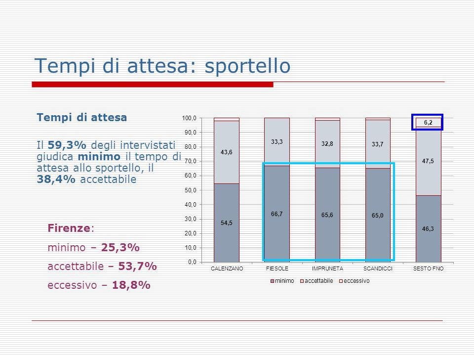 Tempi di attesa: sportello Tempi di attesa Il 59,3% degli intervistati giudica minimo il tempo di attesa allo sportello, il 38,4% accettabile Firenze: minimo – 25,3% accettabile – 53,7% eccessivo – 18,8%