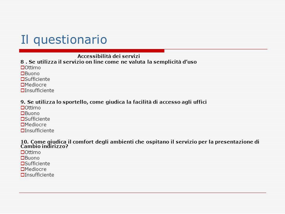 Il questionario Accessibilità dei servizi 8.