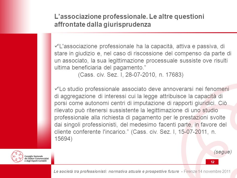 12 Le società tra professionisti: normativa attuale e prospettive future - Firenze 14 novembre 2011 Lassociazione professionale.