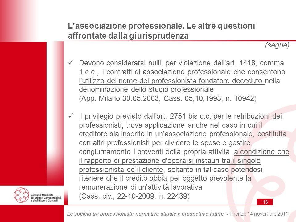 13 Le società tra professionisti: normativa attuale e prospettive future - Firenze 14 novembre 2011 Lassociazione professionale.