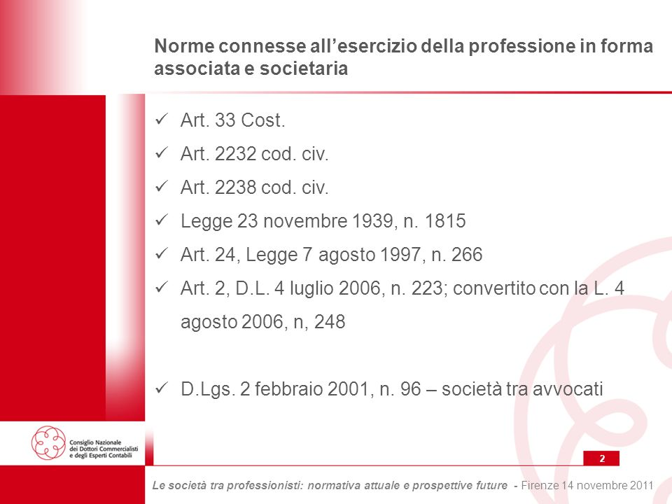2 Le società tra professionisti: normativa attuale e prospettive future - Firenze 14 novembre 2011 Norme connesse allesercizio della professione in forma associata e societaria Art.