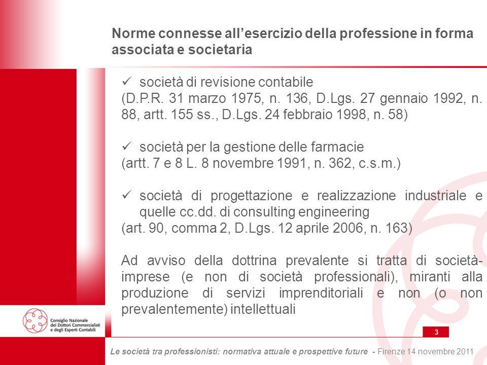3 Le società tra professionisti: normativa attuale e prospettive future - Firenze 14 novembre 2011 Norme connesse allesercizio della professione in forma associata e societaria società di revisione contabile (D.P.R.