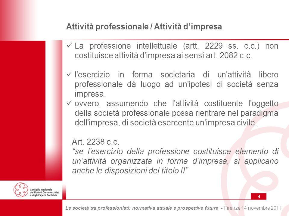 25 Le società tra professionisti: normativa attuale e prospettive future - Firenze 14 novembre 2011 Interventi normativi per la disciplina delle società tra professionisti Lart.