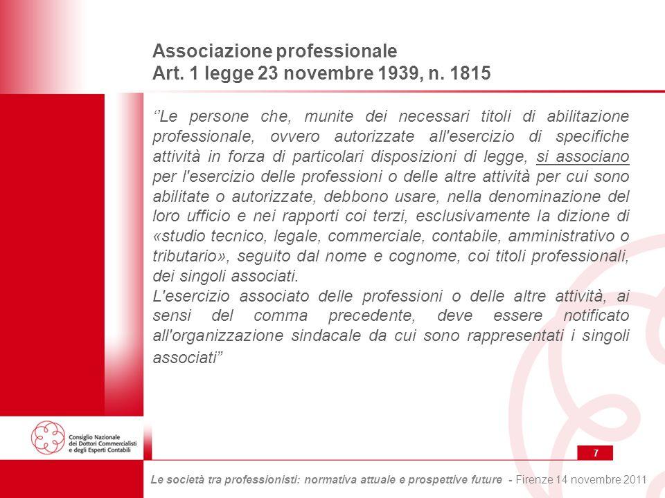 28 Le società tra professionisti: normativa attuale e prospettive future - Firenze 14 novembre 2011 Interventi normativi per la disciplina delle società tra professionisti Lart.