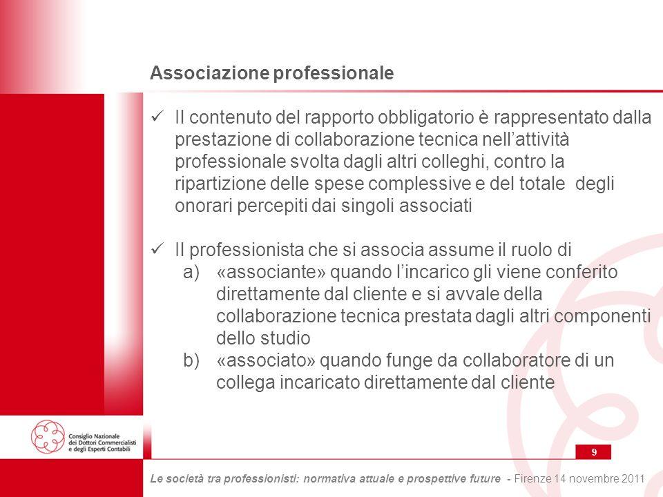 20 Le società tra professionisti: normativa attuale e prospettive future - Firenze 14 novembre 2011 Le posizioni della giurisprudenza dopo la Legge 7 agosto 1997, n.