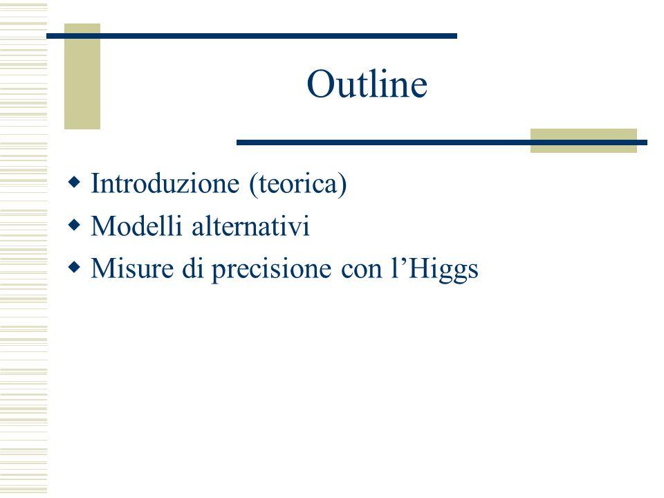 Outline Introduzione (teorica) Modelli alternativi Misure di precisione con lHiggs