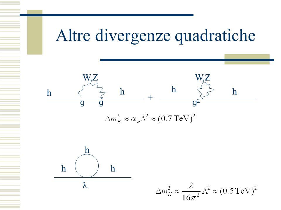 Altre divergenze quadratiche h g h W,Z g g2g2 h + h h h h