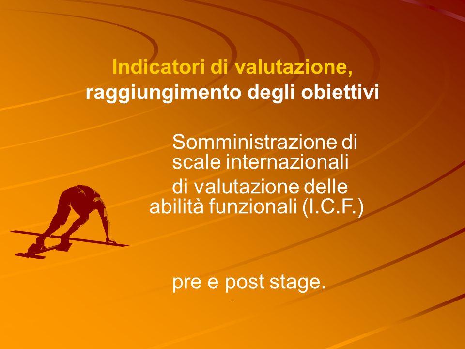 Indicatori di valutazione, raggiungimento degli obiettivi Somministrazione di scale internazionali di valutazione delle abilità funzionali (I.C.F.) pre e post stage..