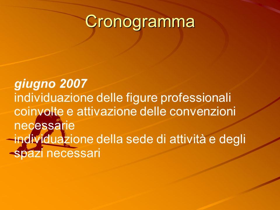 Cronogramma giugno 2007 individuazione delle figure professionali coinvolte e attivazione delle convenzioni necessarie individuazione della sede di attività e degli spazi necessari