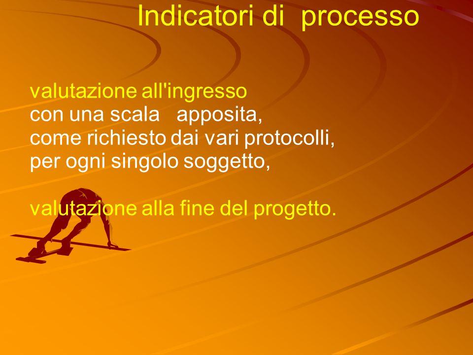 Indicatori di processo valutazione all ingresso con una scala apposita, come richiesto dai vari protocolli, per ogni singolo soggetto, valutazione alla fine del progetto.