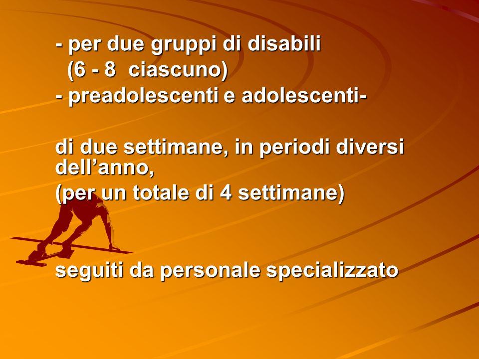 - per due gruppi di disabili (6 - 8 ciascuno) (6 - 8 ciascuno) - preadolescenti e adolescenti- di due settimane, in periodi diversi dellanno, (per un totale di 4 settimane) seguiti da personale specializzato
