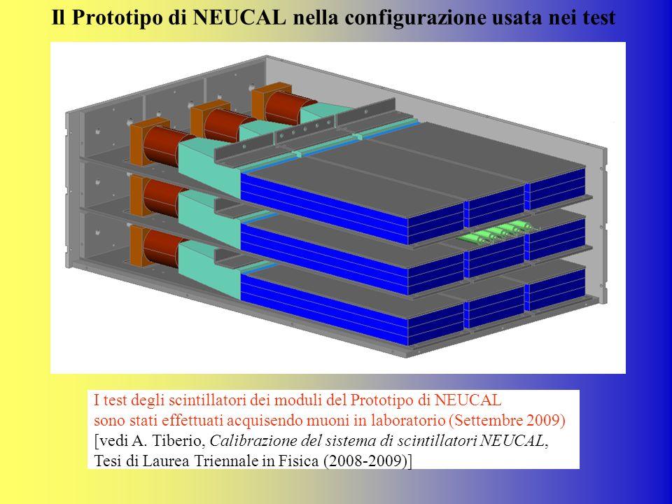 Il Prototipo di NEUCAL nella configurazione usata nei test I test degli scintillatori dei moduli del Prototipo di NEUCAL sono stati effettuati acquise
