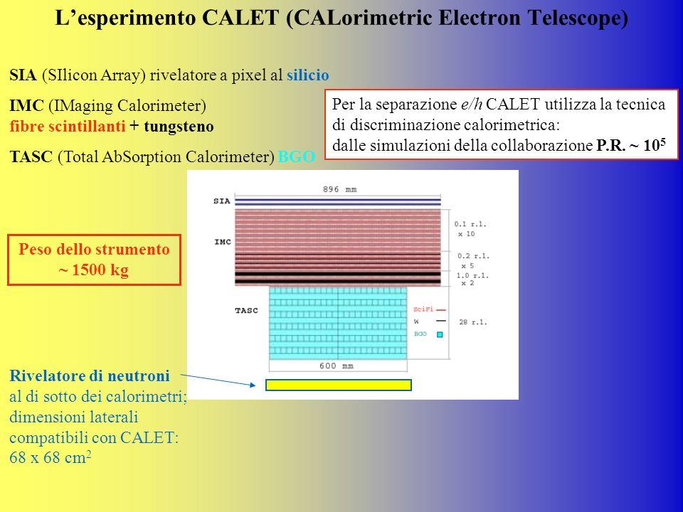 Lesperimento CALET (CALorimetric Electron Telescope) SIA (SIlicon Array) rivelatore a pixel al silicio IMC (IMaging Calorimeter) fibre scintillanti +
