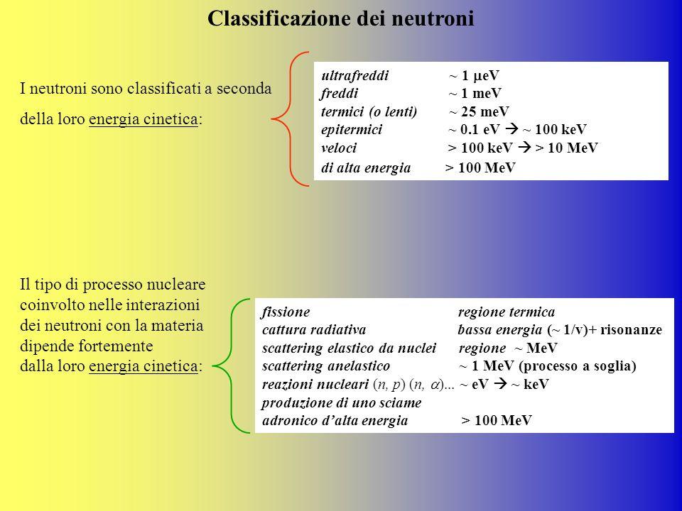 Classificazione dei neutroni I neutroni sono classificati a seconda della loro energia cinetica: ultrafreddi ~ 1 eV freddi ~ 1 meV termici (o lenti) ~