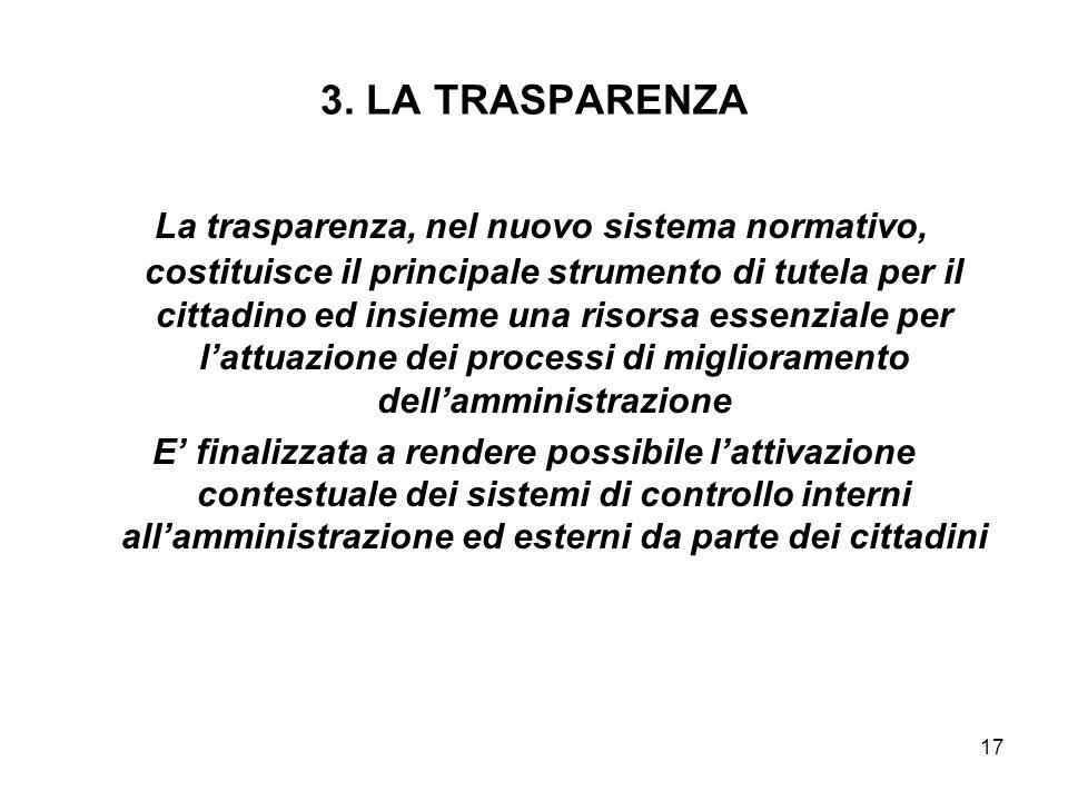 17 3. LA TRASPARENZA La trasparenza, nel nuovo sistema normativo, costituisce il principale strumento di tutela per il cittadino ed insieme una risors