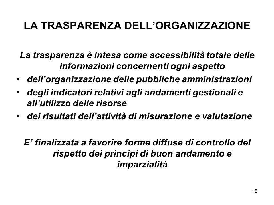 18 LA TRASPARENZA DELLORGANIZZAZIONE La trasparenza è intesa come accessibilità totale delle informazioni concernenti ogni aspetto dellorganizzazione