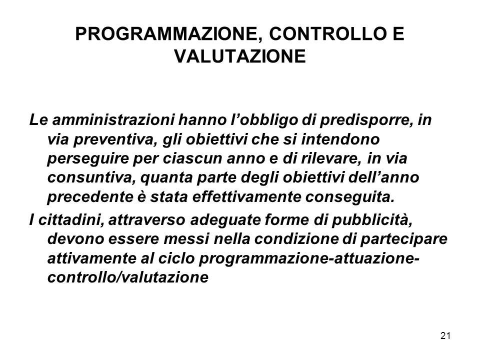 21 PROGRAMMAZIONE, CONTROLLO E VALUTAZIONE Le amministrazioni hanno lobbligo di predisporre, in via preventiva, gli obiettivi che si intendono persegu