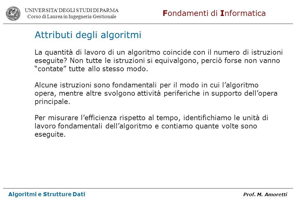 UNIVERSITA DEGLI STUDI DI PARMA Corso di Laurea in Ingegneria Gestionale Fondamenti di Informatica Algoritmi e Strutture Dati Prof. M. Amoretti Attrib