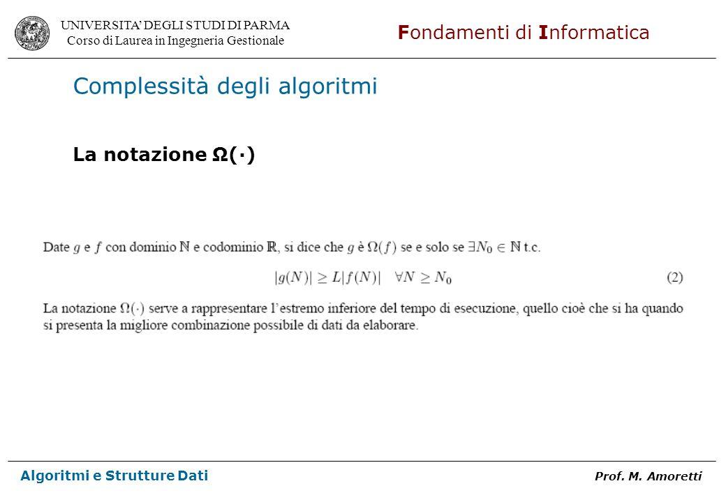 UNIVERSITA DEGLI STUDI DI PARMA Corso di Laurea in Ingegneria Gestionale Fondamenti di Informatica Algoritmi e Strutture Dati Prof. M. Amoretti Comple