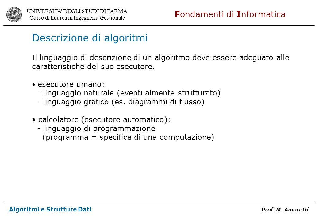 UNIVERSITA DEGLI STUDI DI PARMA Corso di Laurea in Ingegneria Gestionale Fondamenti di Informatica Algoritmi e Strutture Dati Prof. M. Amoretti Descri
